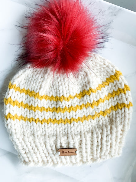 b.e.happe Rugby Stripe Pom Hat- Off White/Mustard/Red Pom