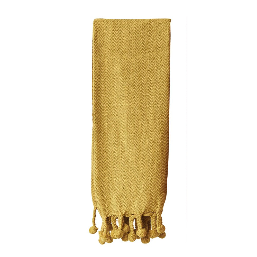 Cotton Throw with Poms- Mustard