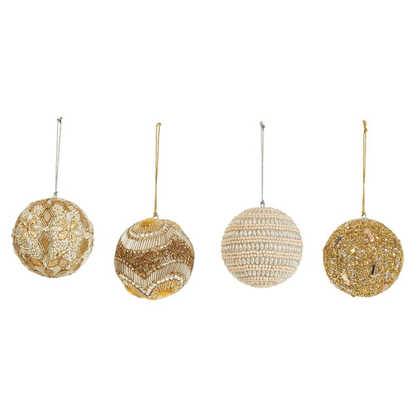 "4"" Round Faux Pearl & Bead Ball Ornament -4 Styles"