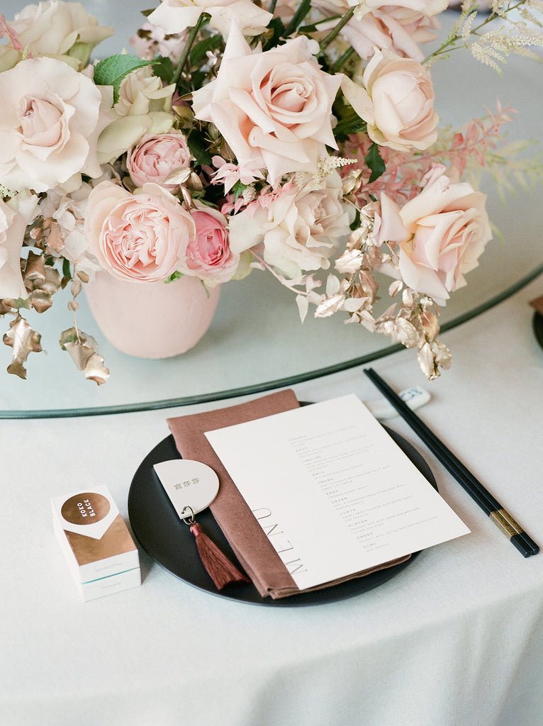 Bask ivory menus with custom place cards