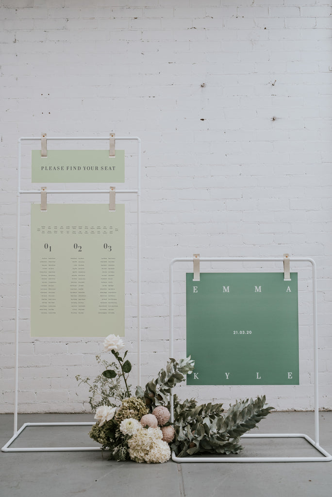 Welcome sign and seating chart stand hire Melbourne