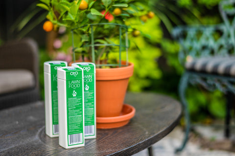 OtO Lawn Food fertilizer can be used with the OtO smart device