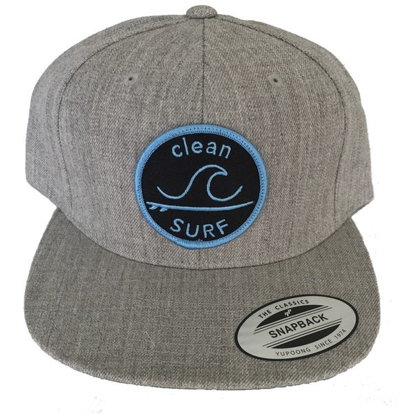 OB Snapback Hat - Heather Gray with Blue Patch