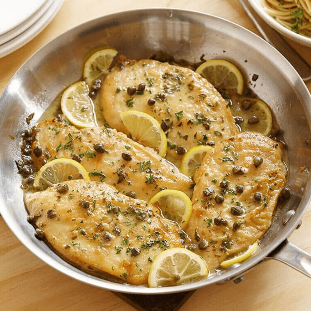 Chicken Piccata with Buttered Pasta and Seasonal Vegetables - The Chef's Garden