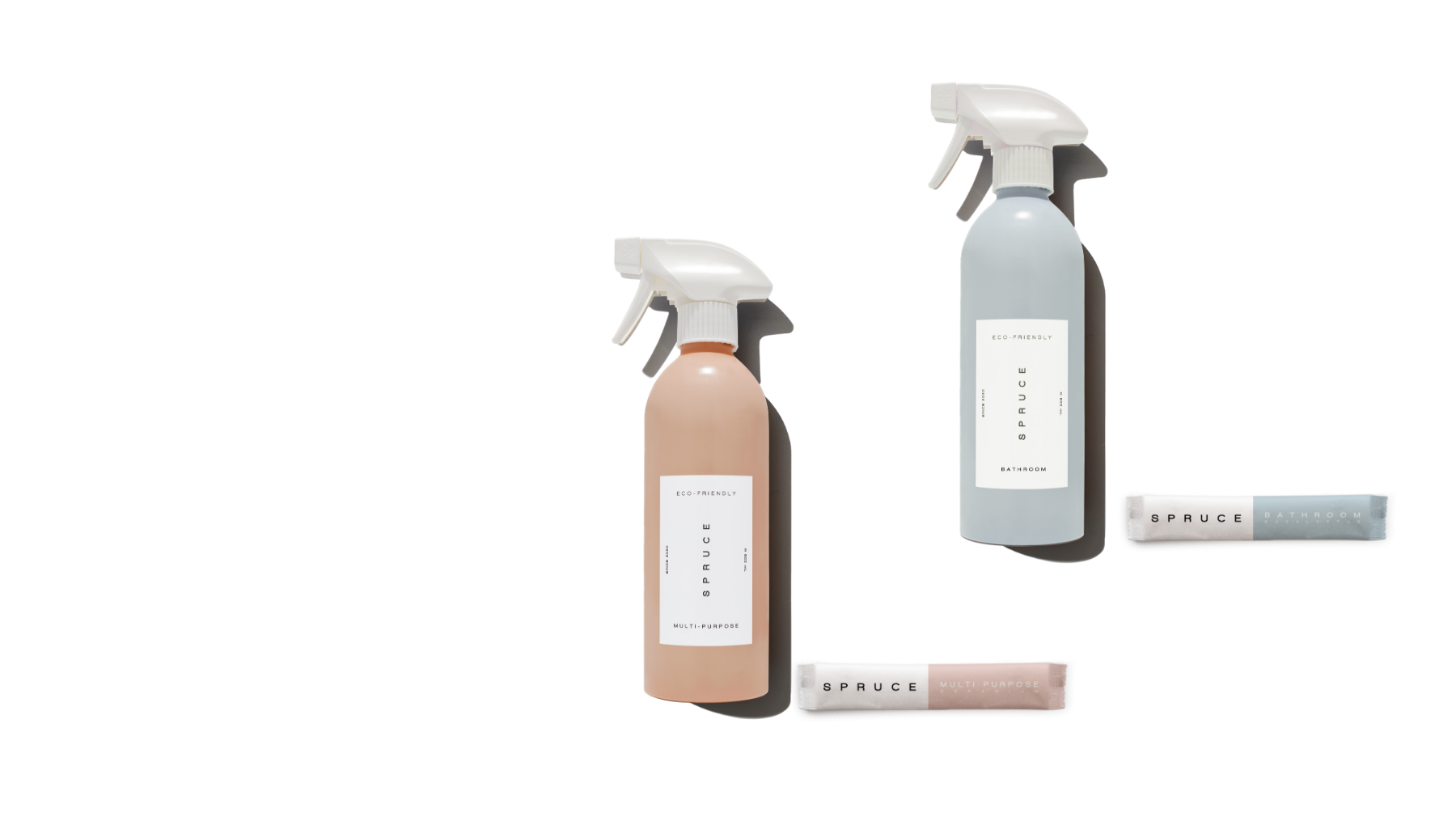 SPRUCE refillable cleaning products with plastic-free refill sachets and refillable starter kit, multipurpose kitchen cleaner x Dezeen Awards Sustainable Design