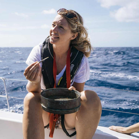 Emily Penn collecting ocean microplastics  | Spruce plastic-free cleaning products
