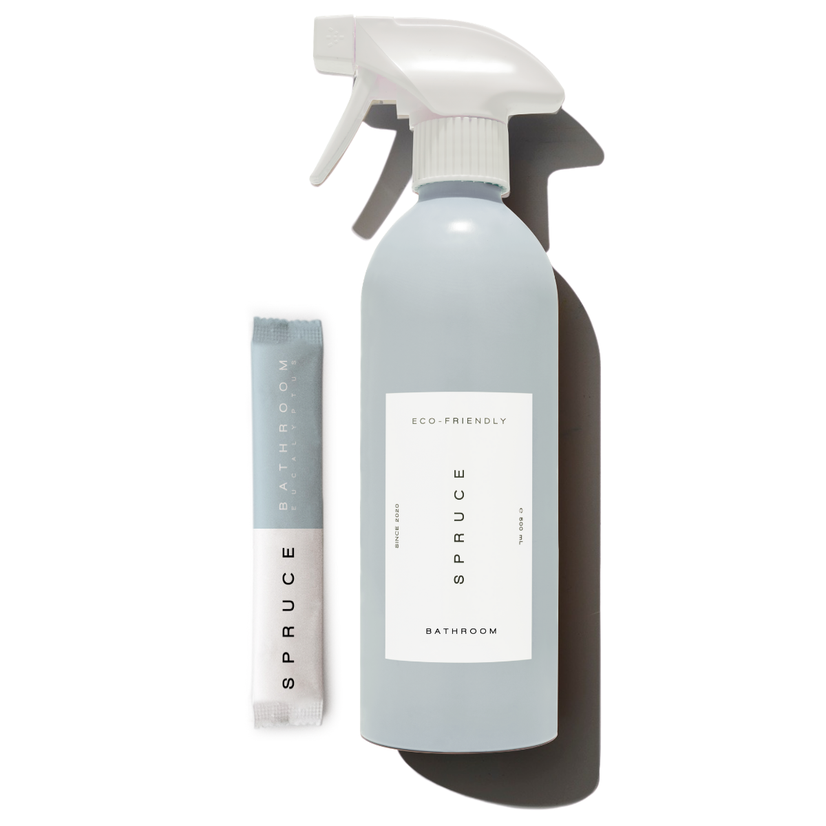 Spruce Eco-friendly Bathroom Cleaning Starter Kit is soap scum cleaner, shower cleaner, toilet cleaner with a plastic free bathroom refill sachet pack and refillable aluminium bottle. Just add tap water at home