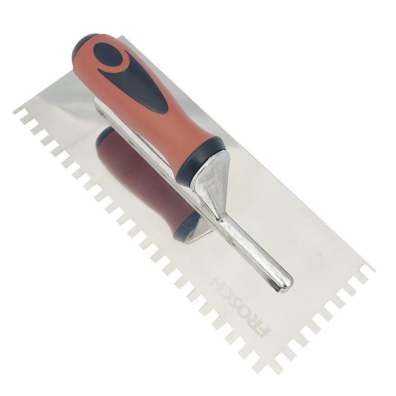 "FROSCH Square Notch Stainless Steel Trowel - 1/4"" X 3/8"""