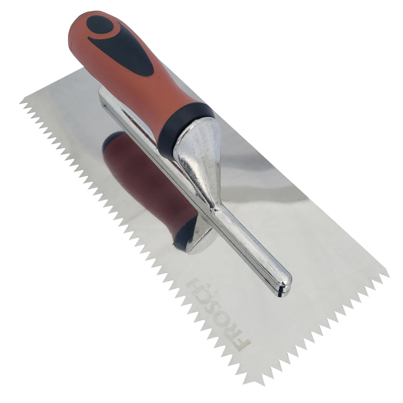 "FROSCH V-Notch Stainless Steel Trowel - 1/4"" X 1/4"""