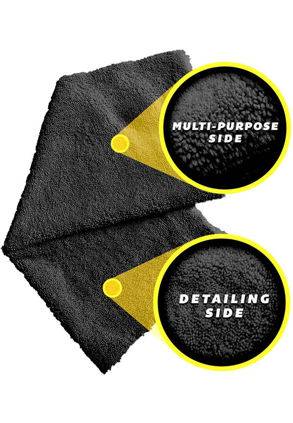 Edgeless Black Single Plush Microfiber Towel