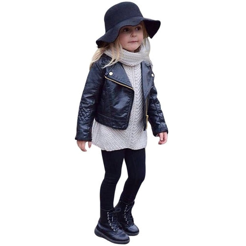 Toddler Girls Trendy PU Leather Jacket