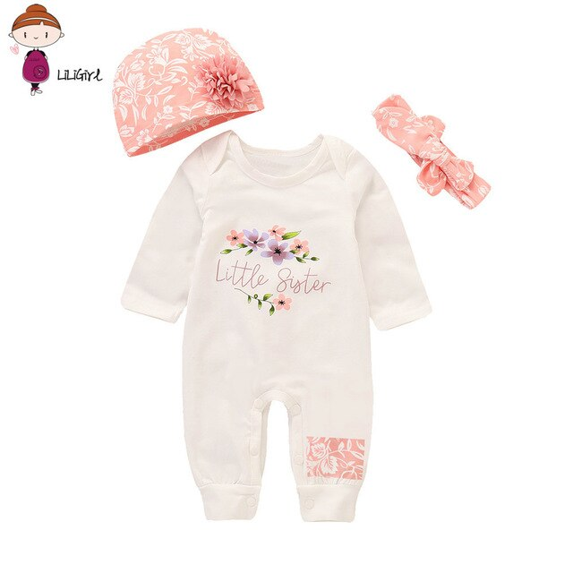 Sweet Little Sister 3pc Romper + Headband Outfit