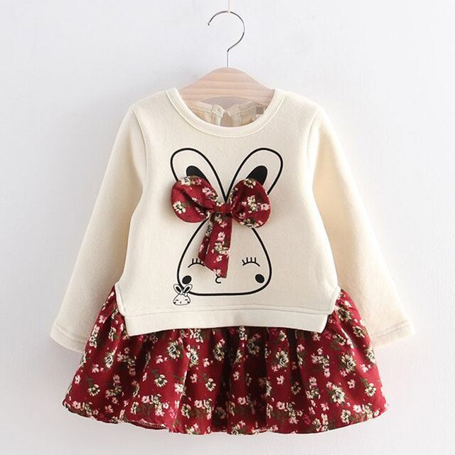 Autumn Floral Bunny Toddler / Girls Dress