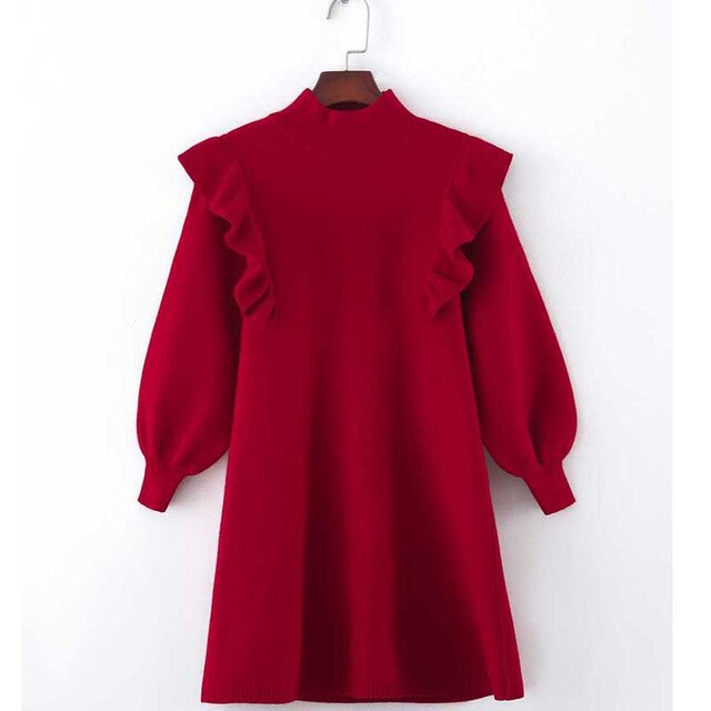 Refined in Red Girls Puff Sleeve Sweater Dress
