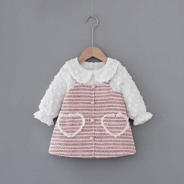 Modern Prairie Knit Dress with Heart Pockets Baby/Toddler
