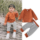 Fall meets Stripes Baby Shirt + Pant Outfit