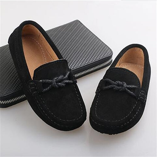 Kids Genuine Leather Dressy Casual Black Moccasin Loafer