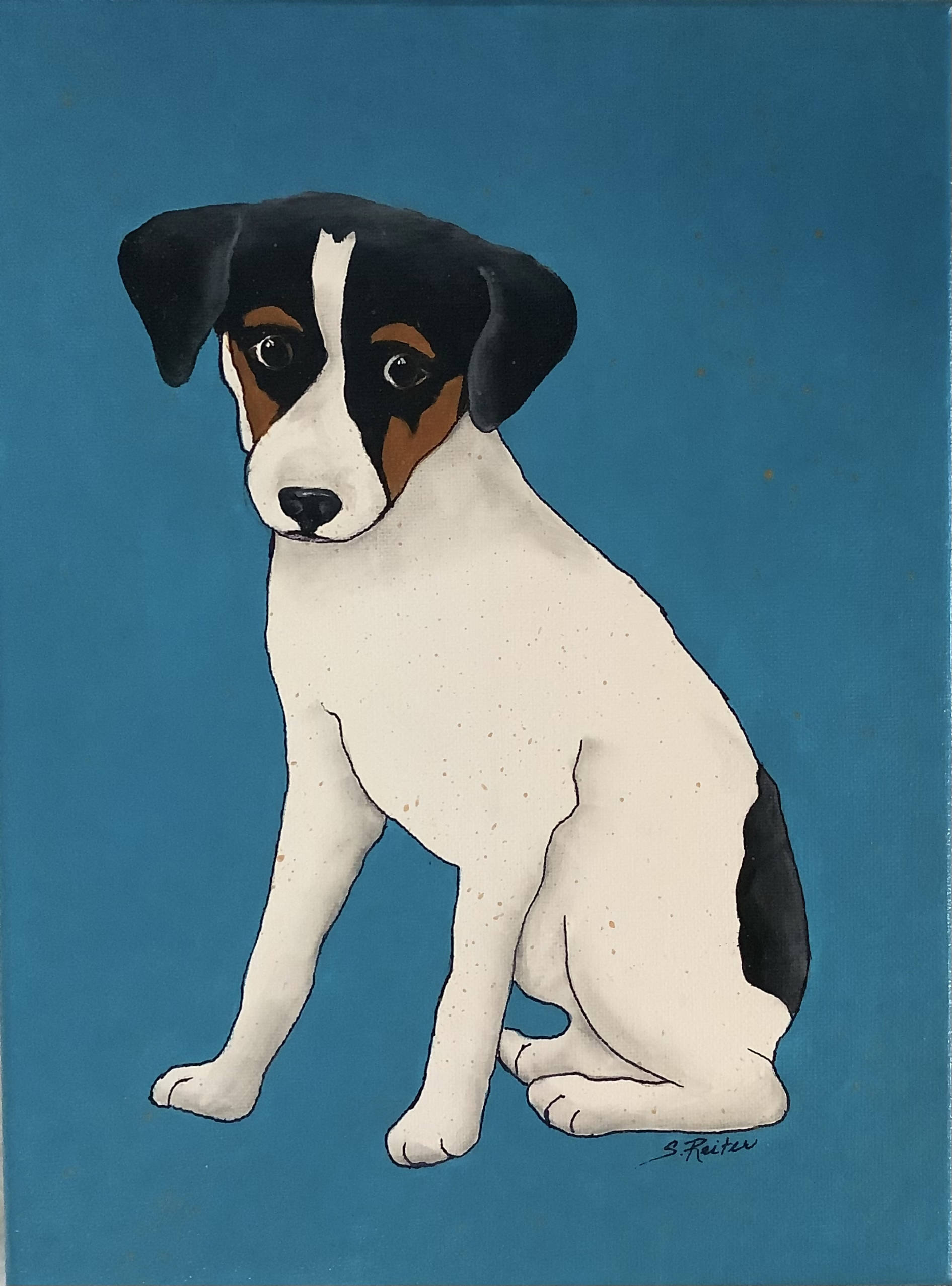 A Hand Painted Canvas Painting of a Small Terrier Dog