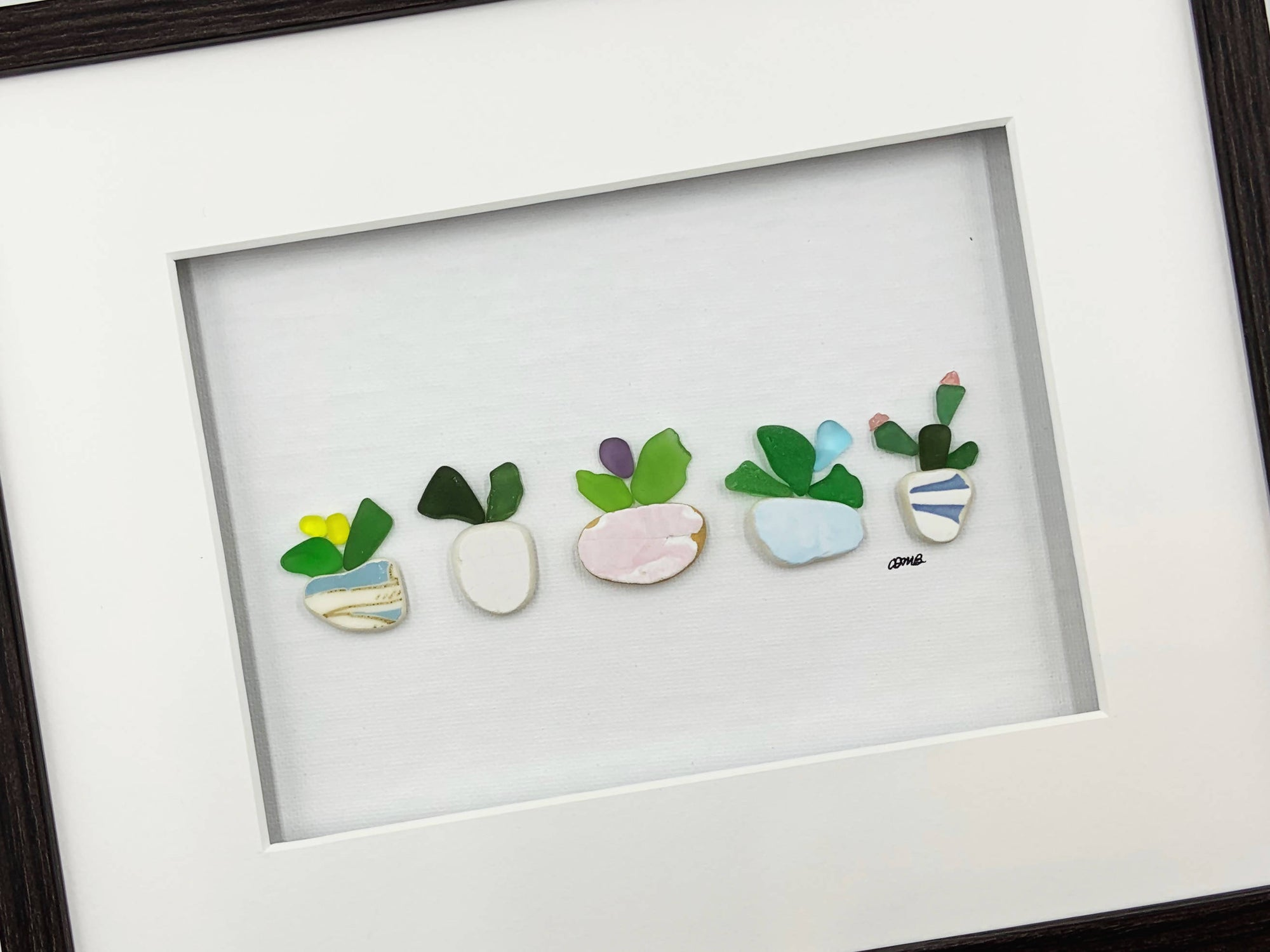 Sea Glass Art, 10 by 8, botanical plants