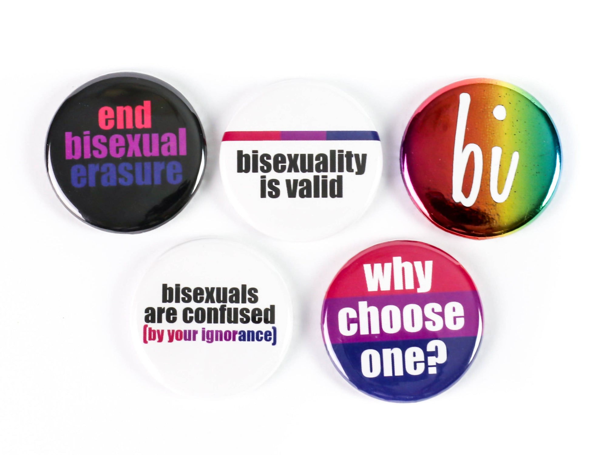 Bisexual Pride Buttons or Magnets