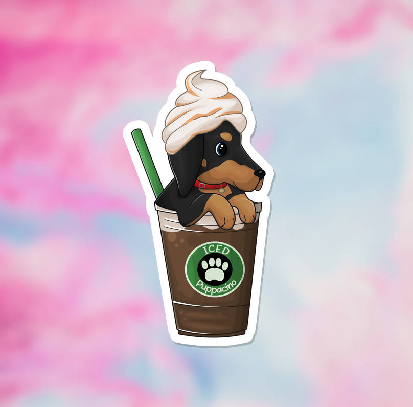 "Iced Puppacino Vinyl Sticker (3.5"") - glossy finish"