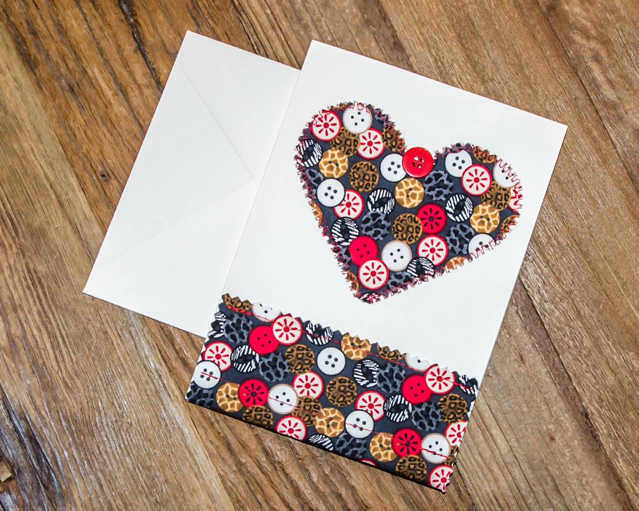 Heart-shaped, Button Themed Greeting cards - Handmade- Fabric on Paper / Blank Inside for any occasion. Package of 2