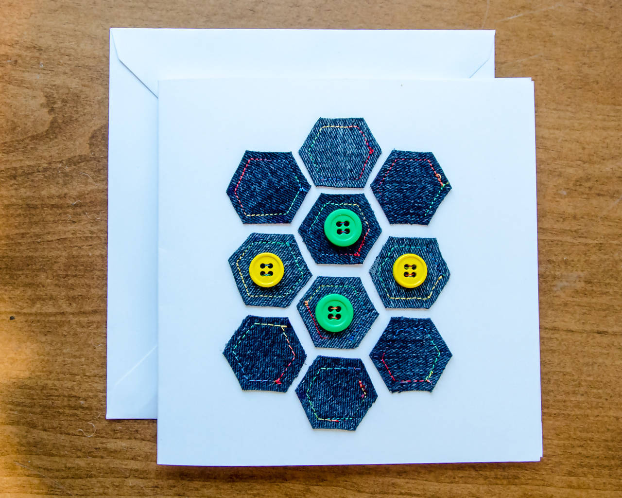 Denim Geometric shapes Greeting Card - Handmade - Fabric on Paper / Blank Inside for any occasion