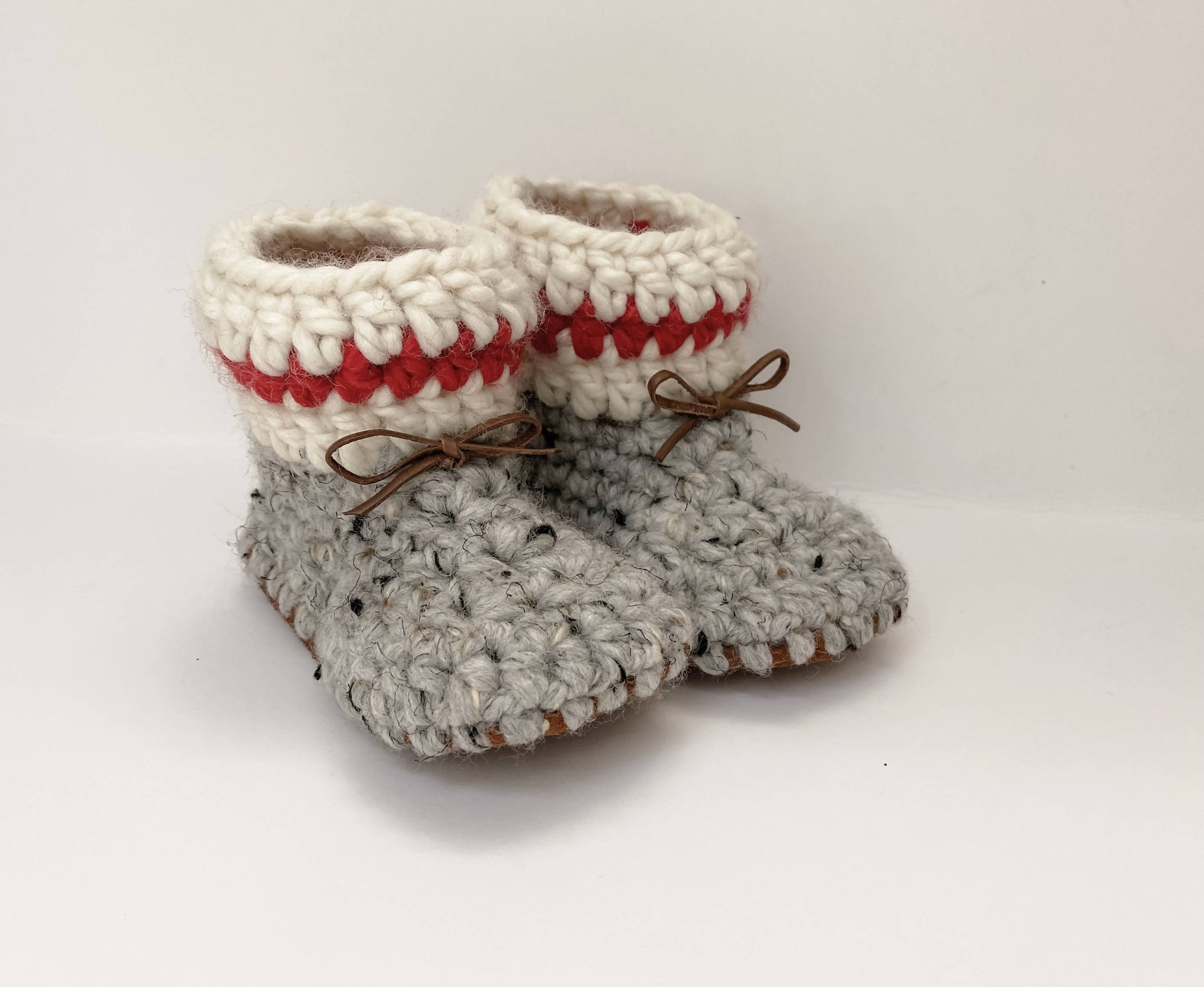 Baby Shoes // Grey Baby Slippers // Crochet Booties // Leather Bottom Boots // Soft Sole Booties // Newborn Baby Toddler Child - RUSTIC CABIN