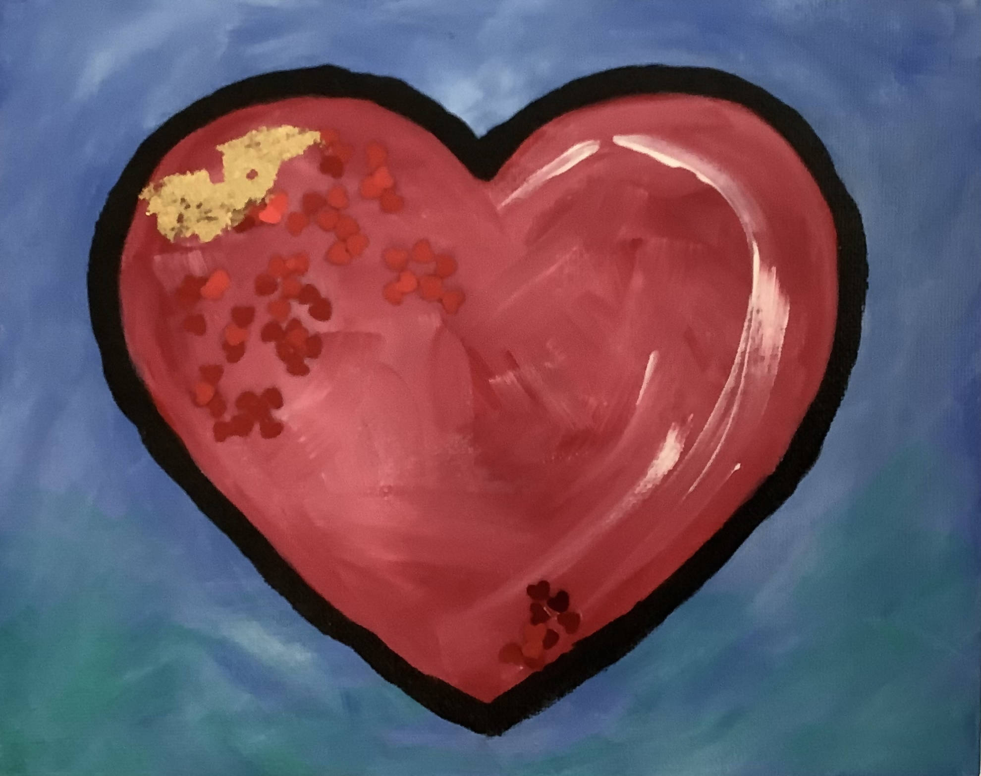 Series 1 - Valentines Day Heart on Canvas. Blue Background with Embellishments