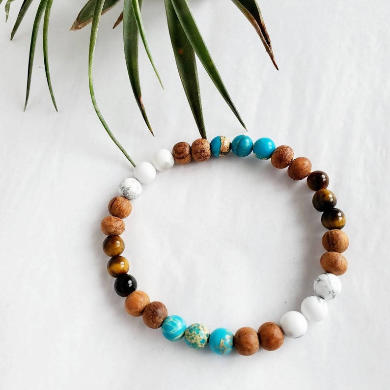 Tiger Eye, Blue Jasper, White Howlite and Bayong Wood Mala Bracelet