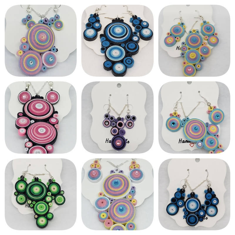 """FREE SHIPPING"" Quilled Necklace and Earring Set (Sterling Silver)"
