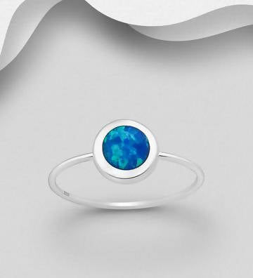 925 Sterling Silver Solitaire Ring Decorated with Lab-Created Opal