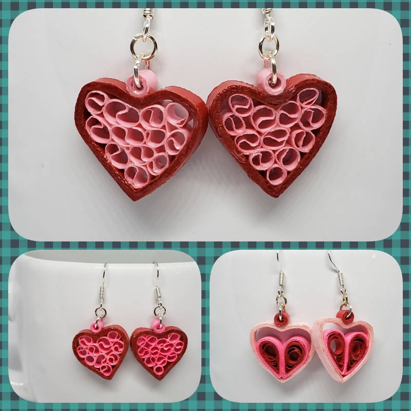 """FREE SHIPPING"" Quilled Heart Earrings"