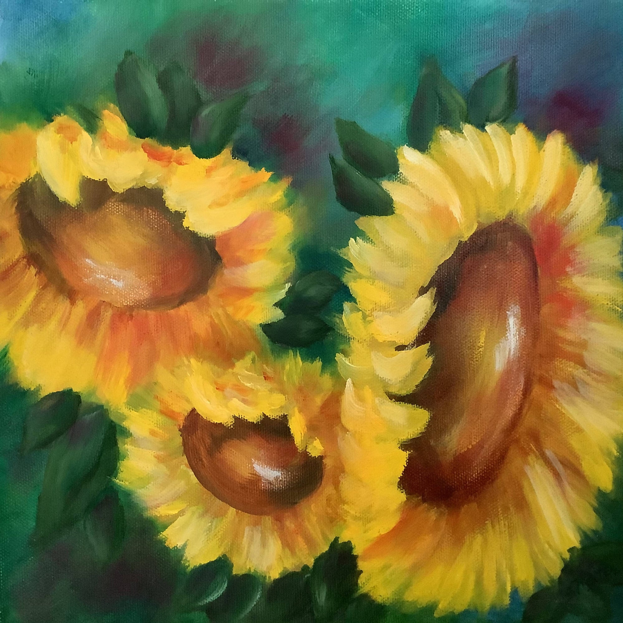Beautiful Oil Painting of 3 Sunflowers on Canvas