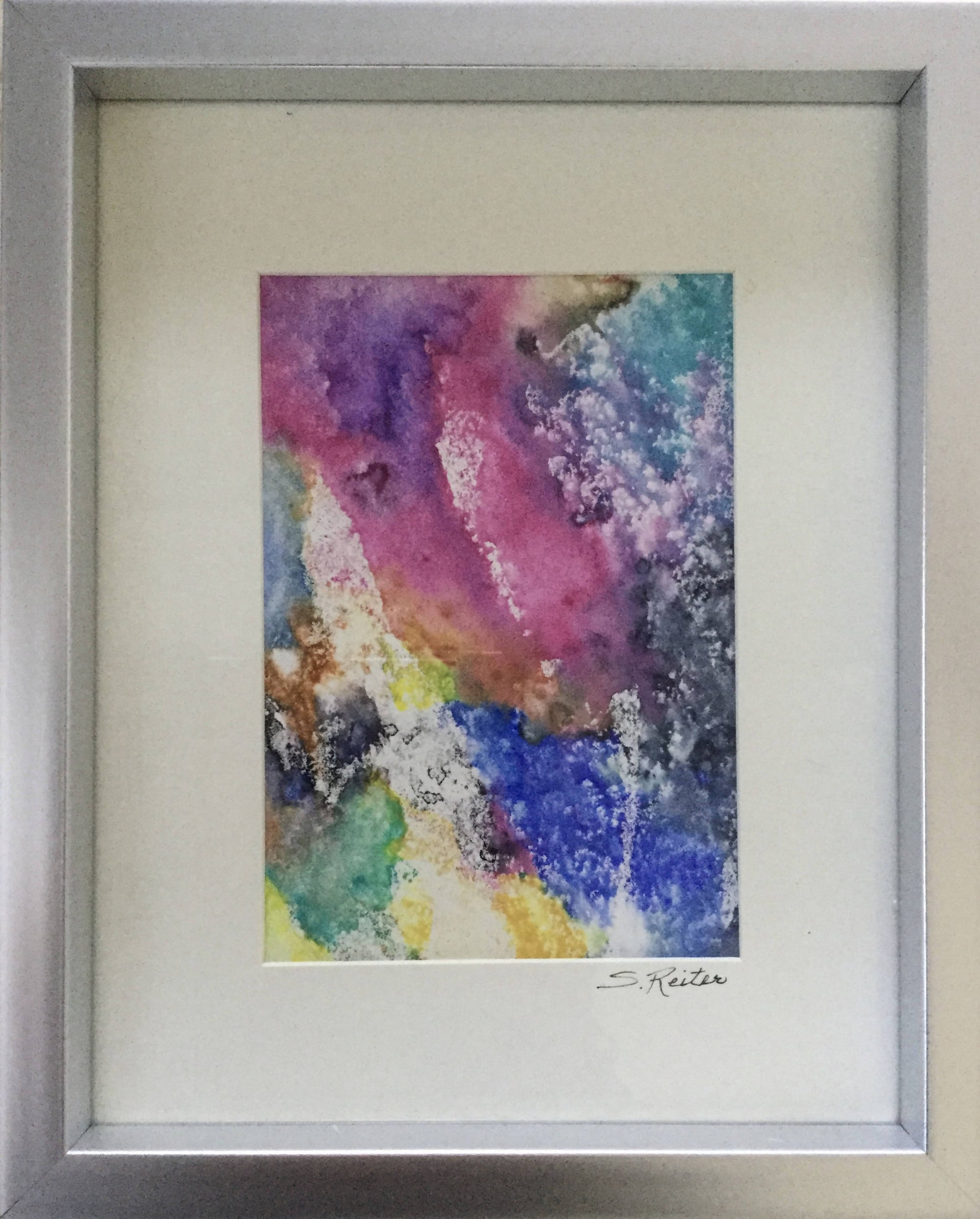 Beautiful Original Abstract Painting In a Silver Frame