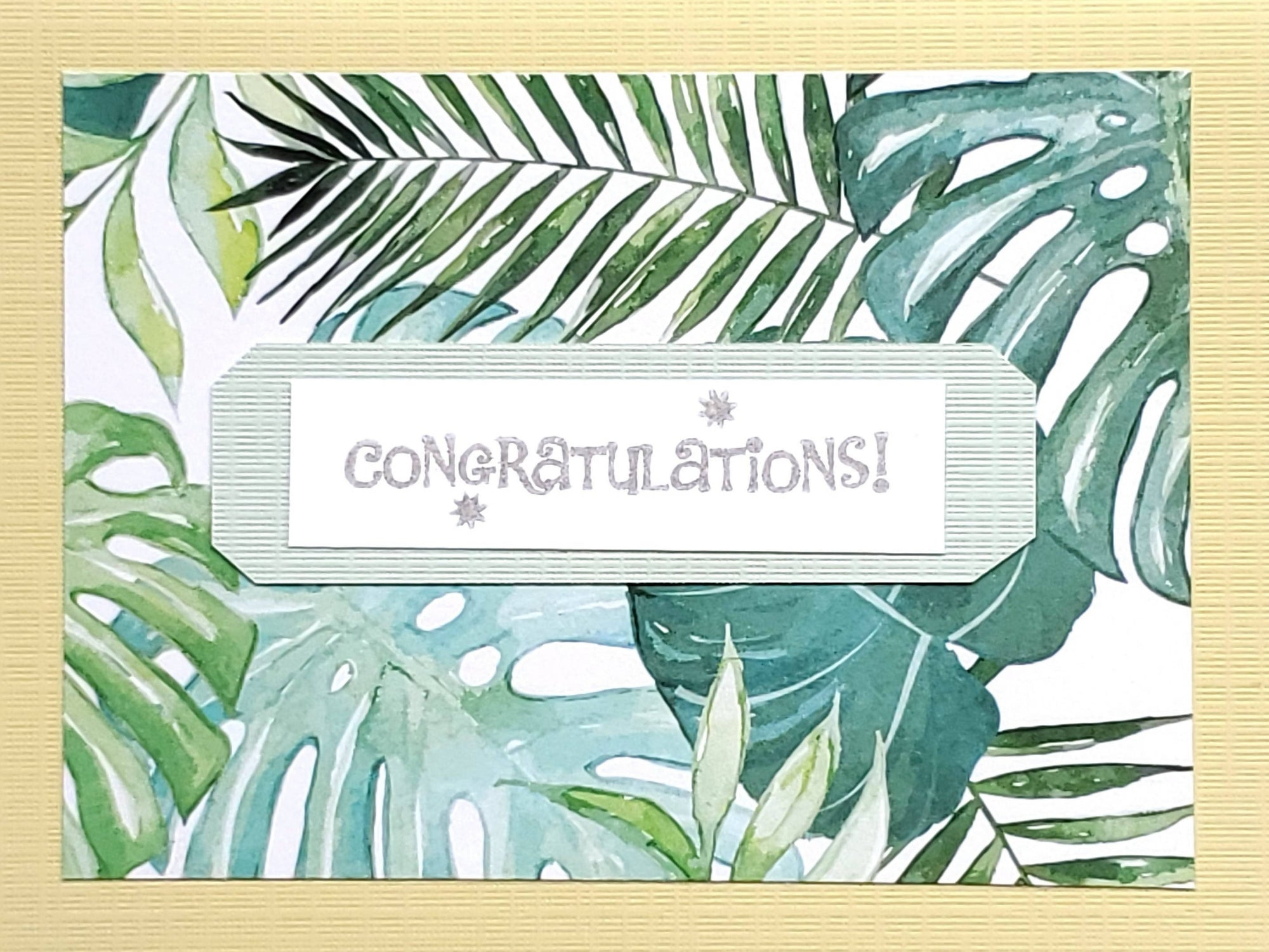 Congratulations Card (Tropical Green and Blue)