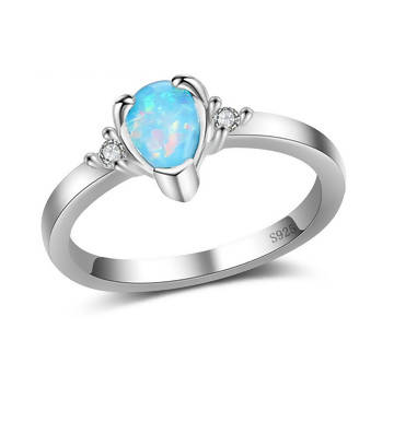 925 Sterling Silver Jewelry Simple Water Drop Opal Ring Size 8