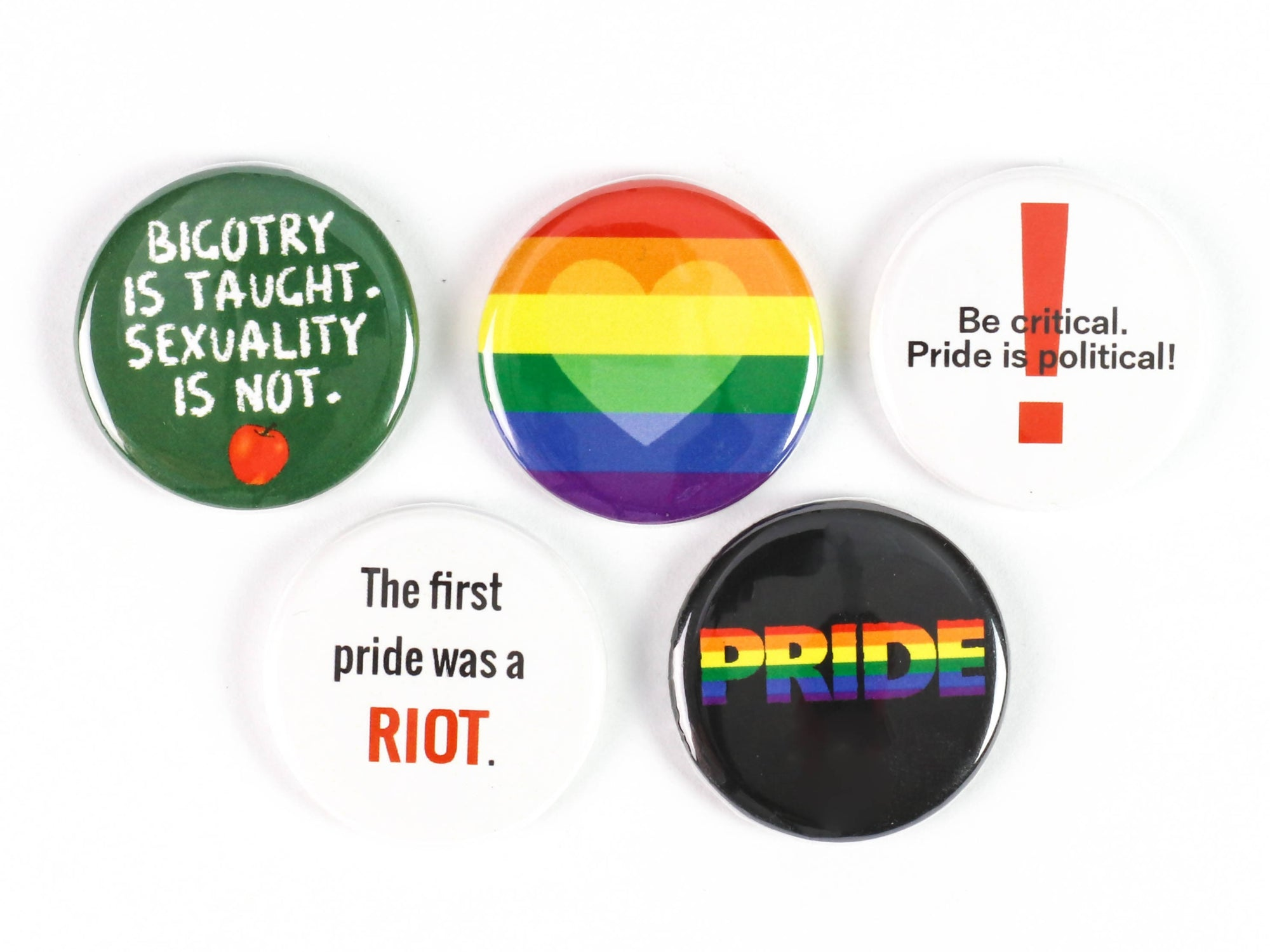 Pride is Political, LGBTQ Pride: Pinback Buttons or Strong Ceramic Magnets - Supports The Ten Oaks Project