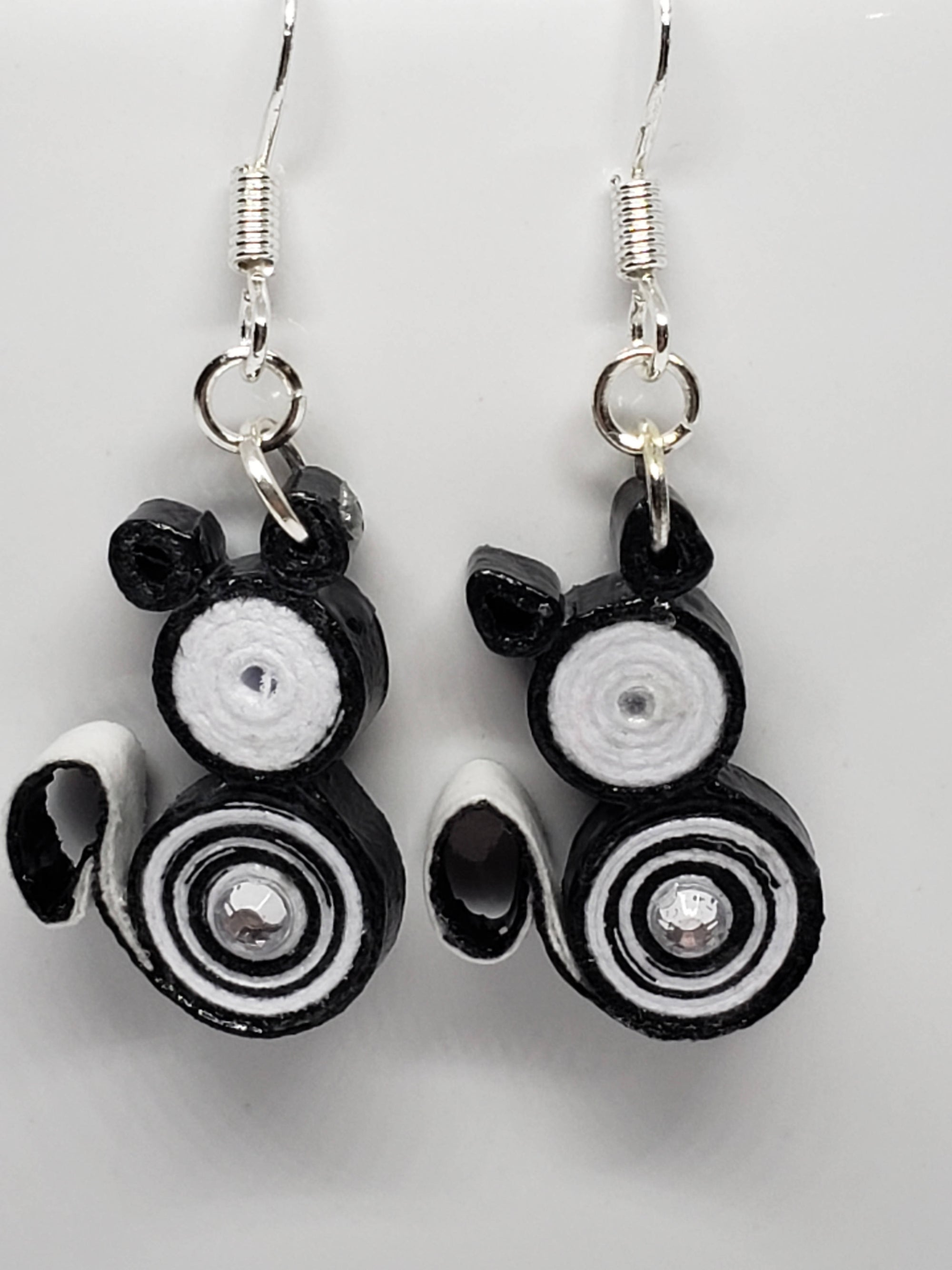 """FREE SHIPPING"" Quilled Cat Earrings (Sterling Silver)"