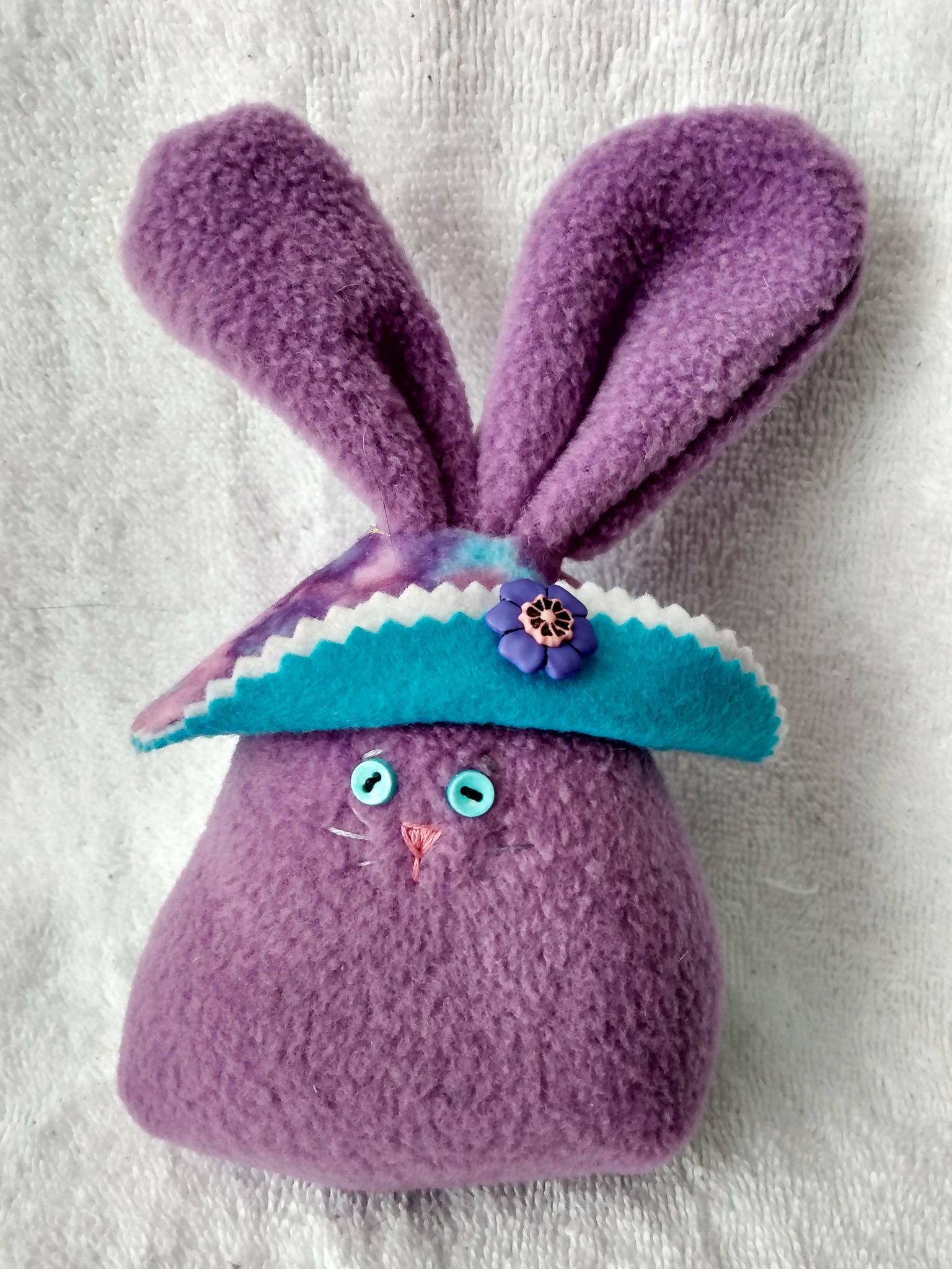 Lavender Bunny with Tie-Dyed Bonnet