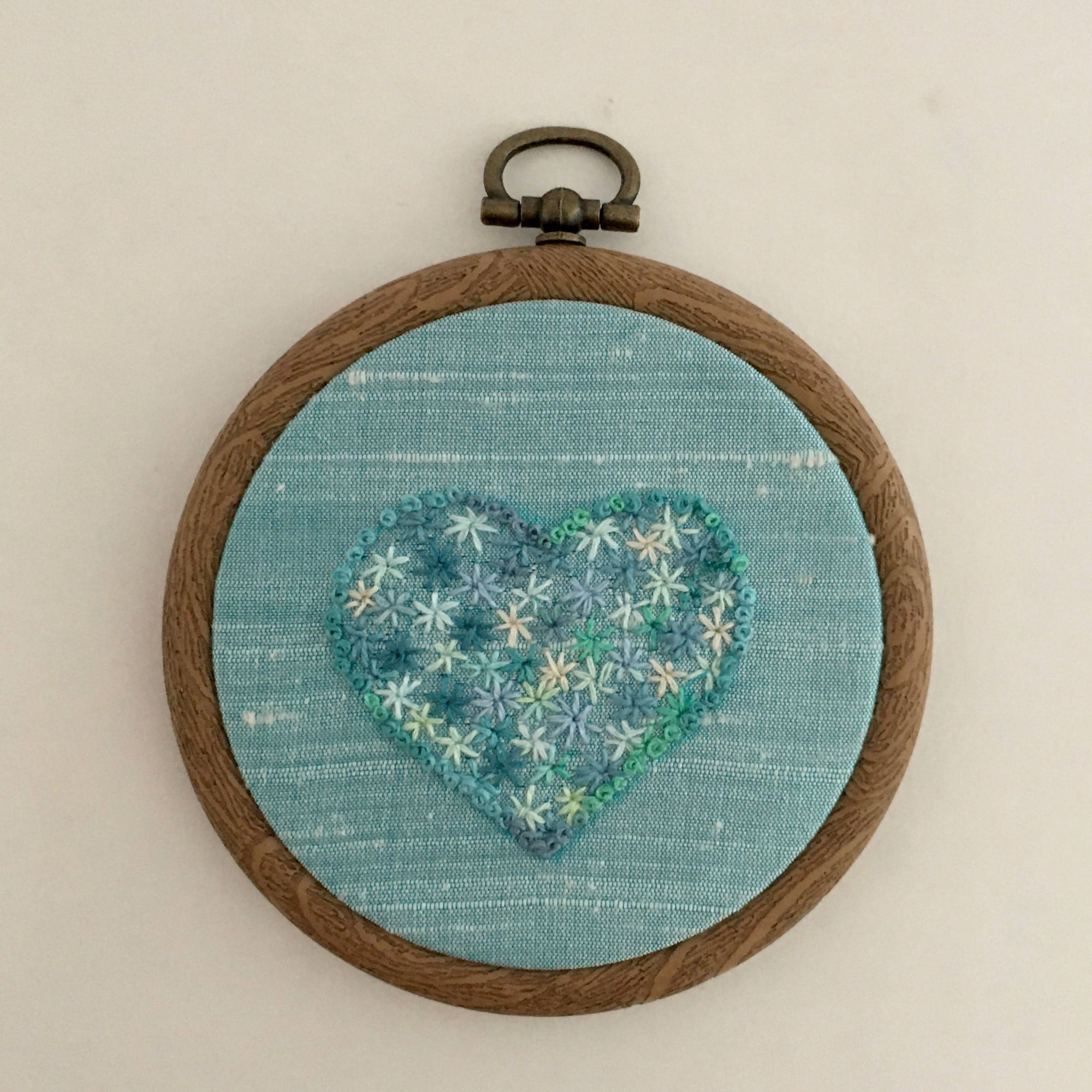 'Love is Blue-Missing You' Embroidered Heart Hoop