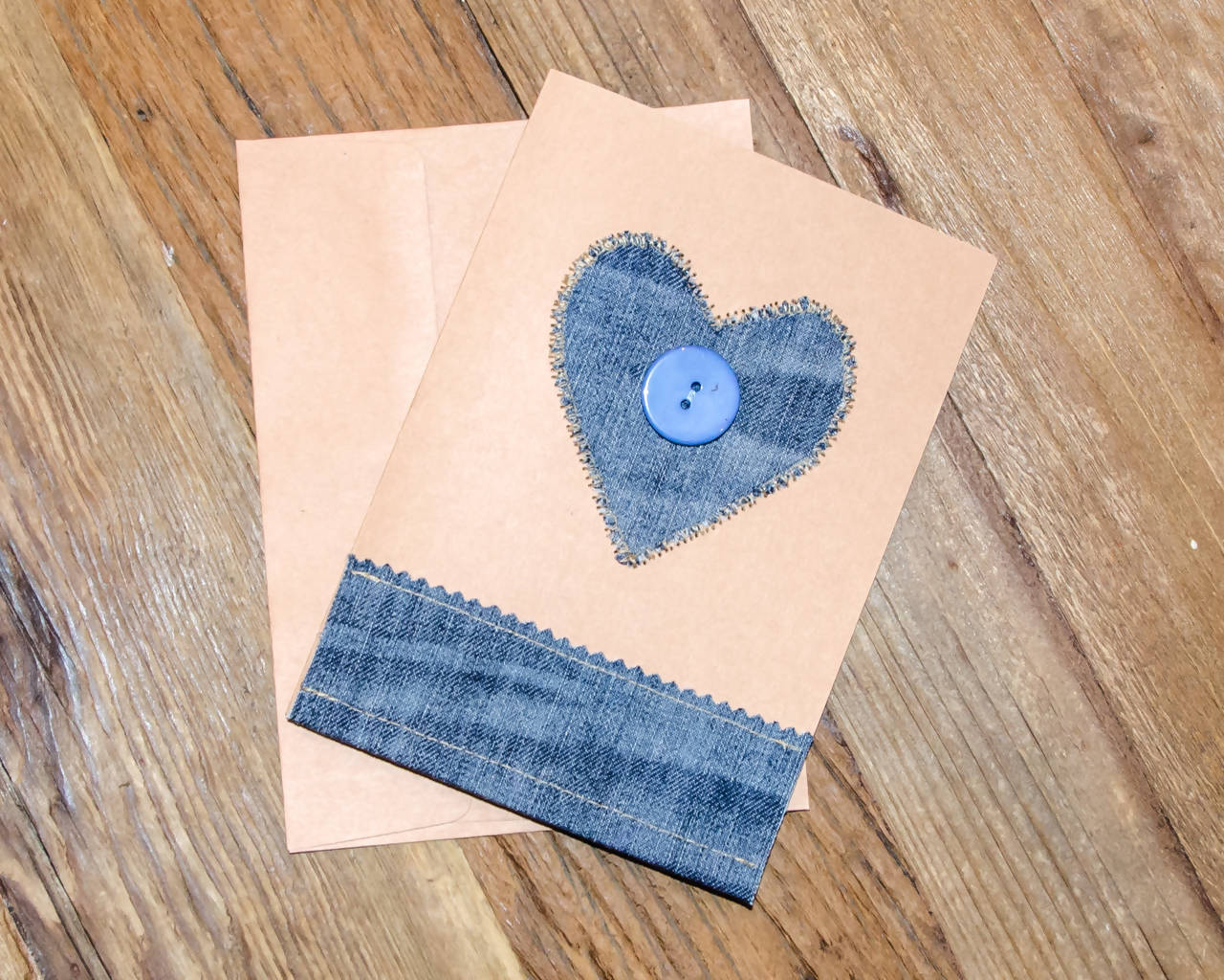 Handmade - Fabric on Paper Greeting Card, Heart-shaped, Denim - Blank Inside for any occasion/Valentines