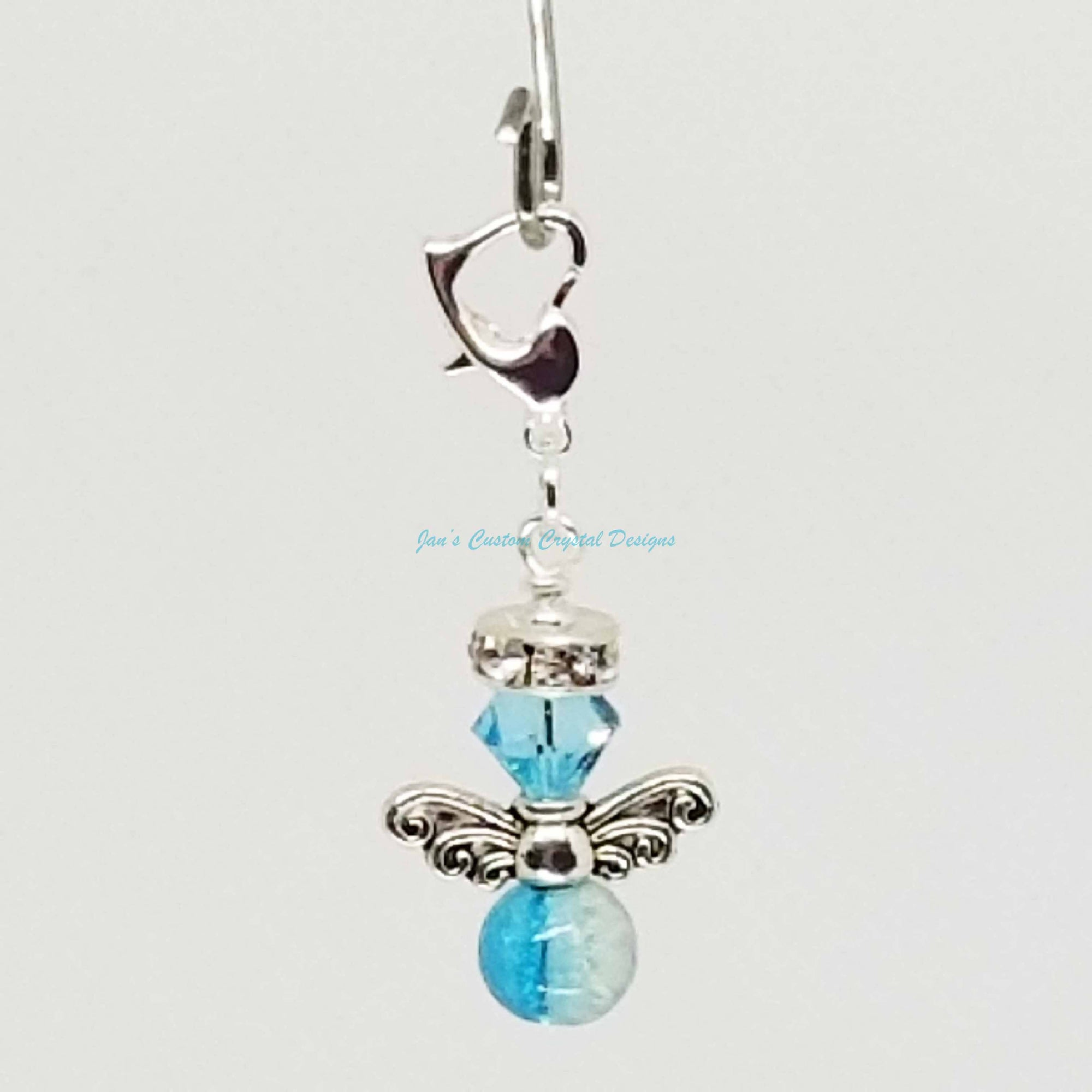 Candy Drop Angel - Swarovski® Crystal and Crackle Glass Bead Zipper Pull - Turquoise
