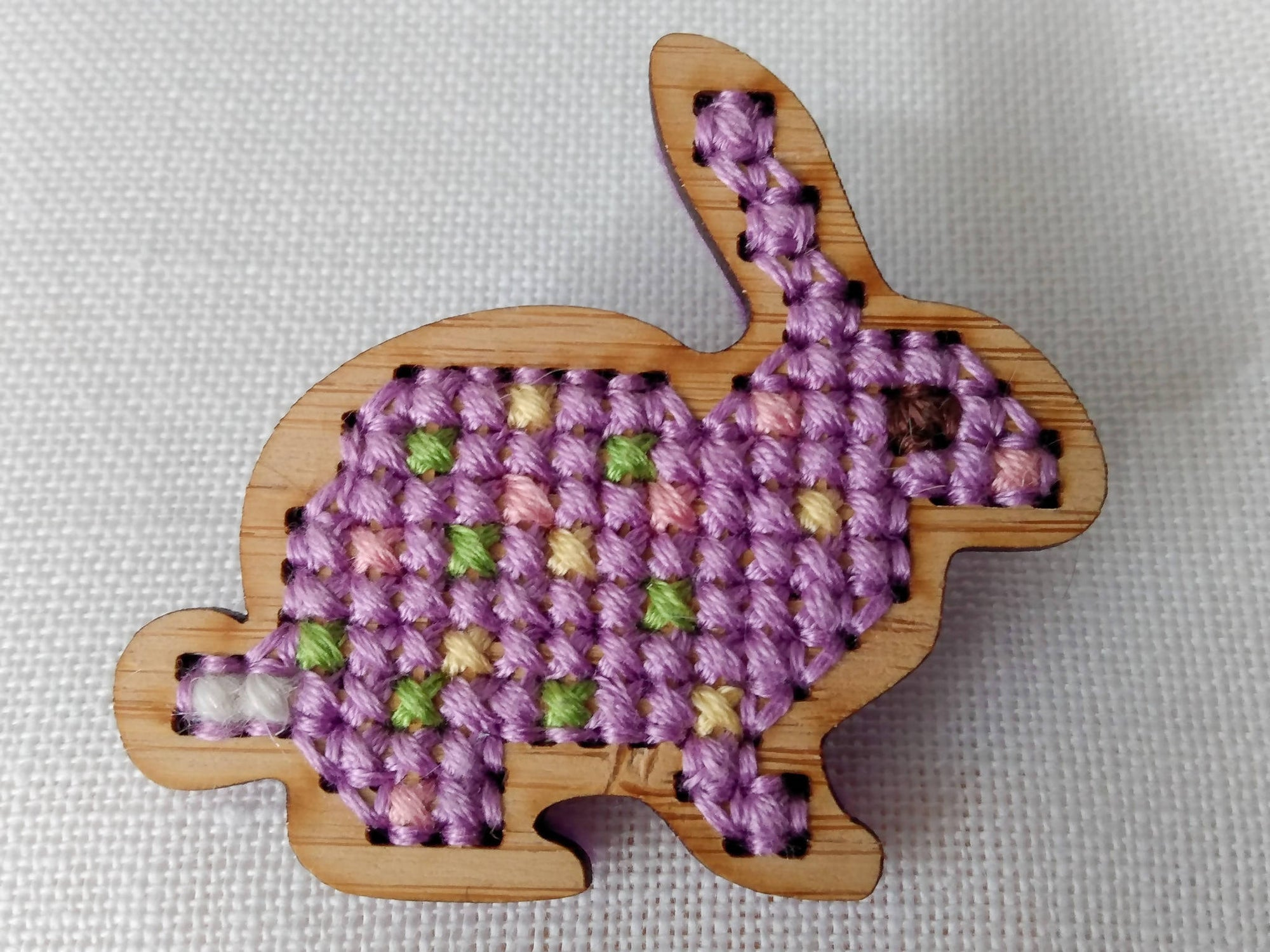 Bamboo Cross Stitched Lavender Fields Bunny Brooch