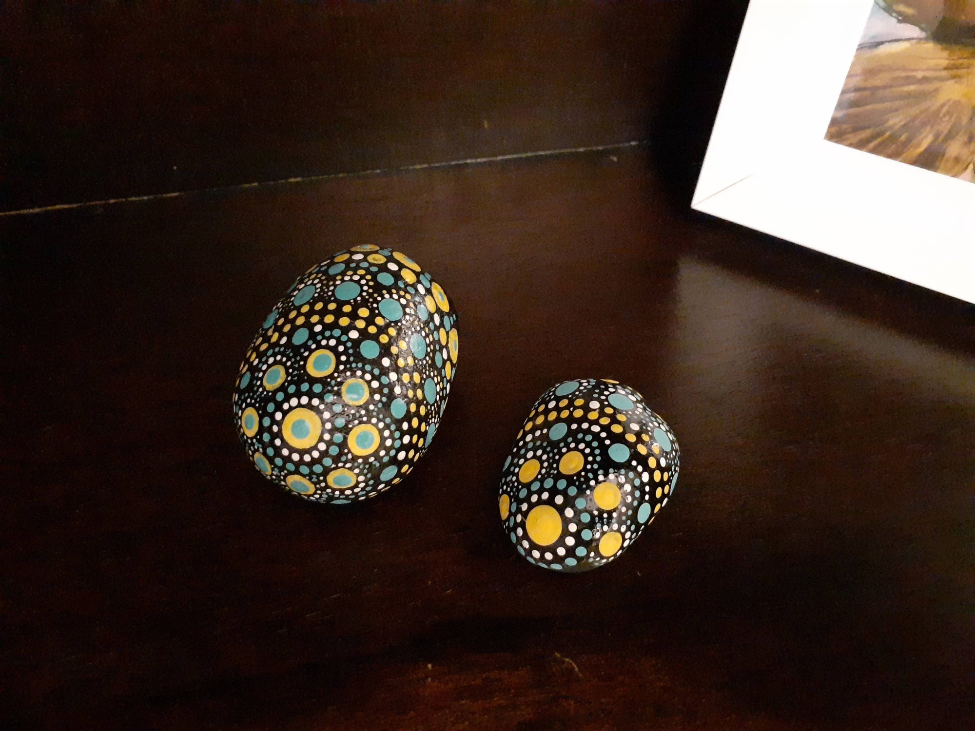 Hand Painted Mandala Rock Set, Natural Stone, Dot Art, Teal and Yellow Aesthetic