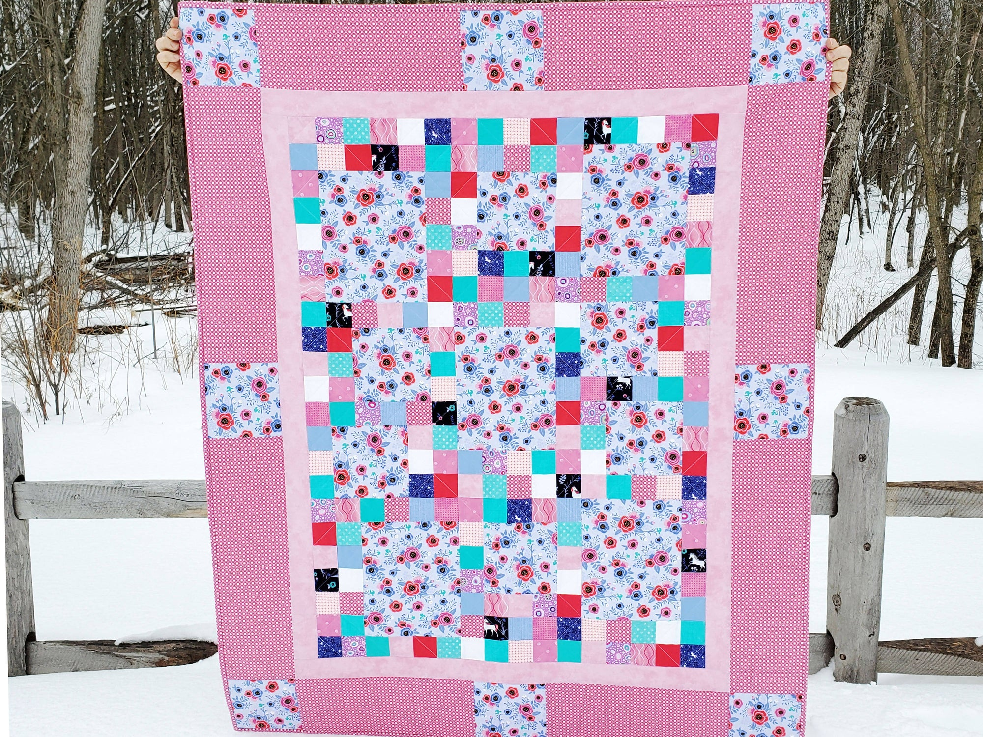 Custom Made Baby Girl Quilt - Sample Design - Design Your Own Quilt - 60 x 48 inches