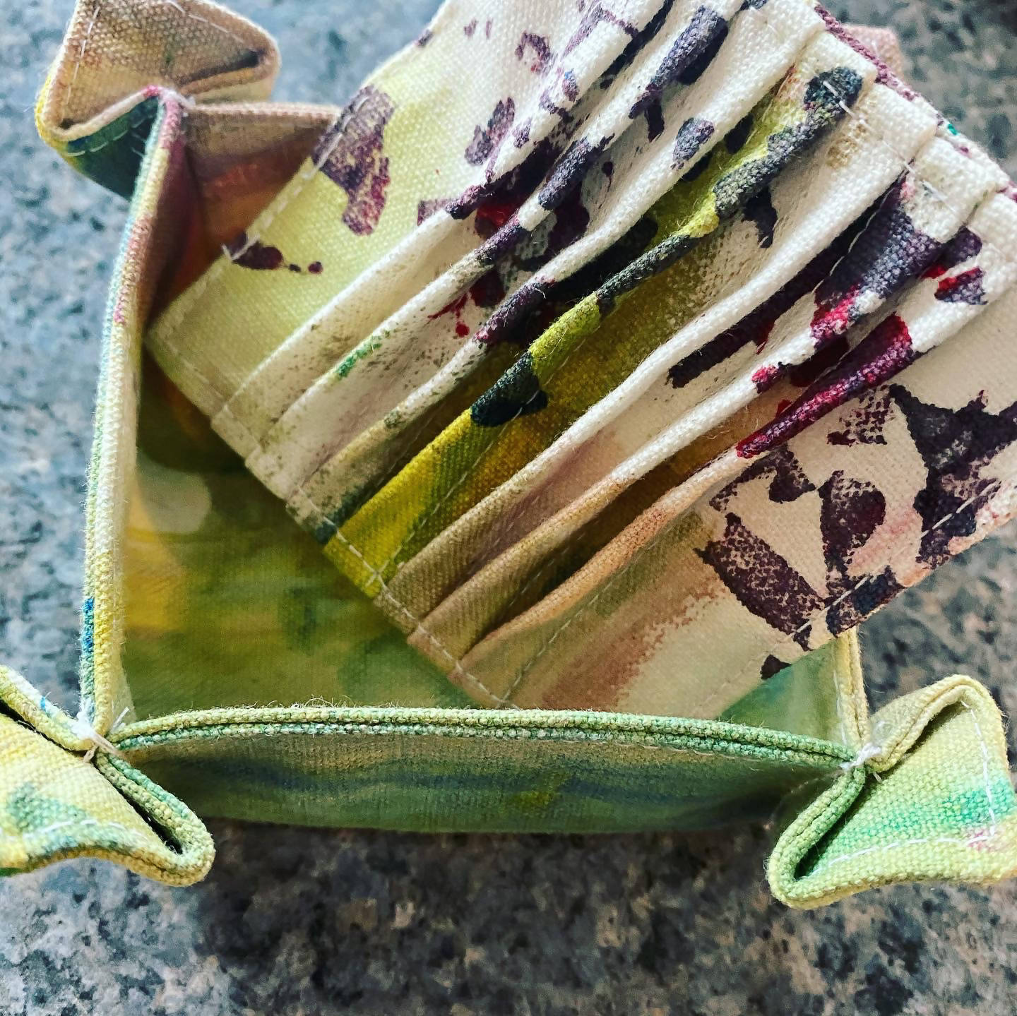 Hand Painted Canvas Artisan Soap Holder Set