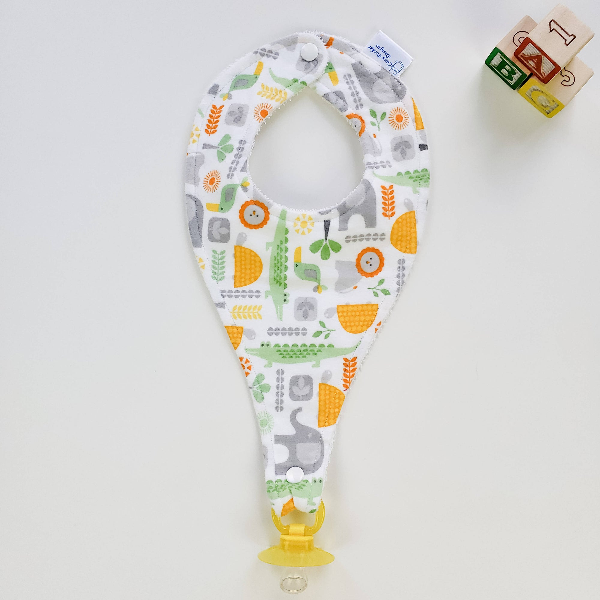 Pacifier Bib - Yellow & Grey Animals