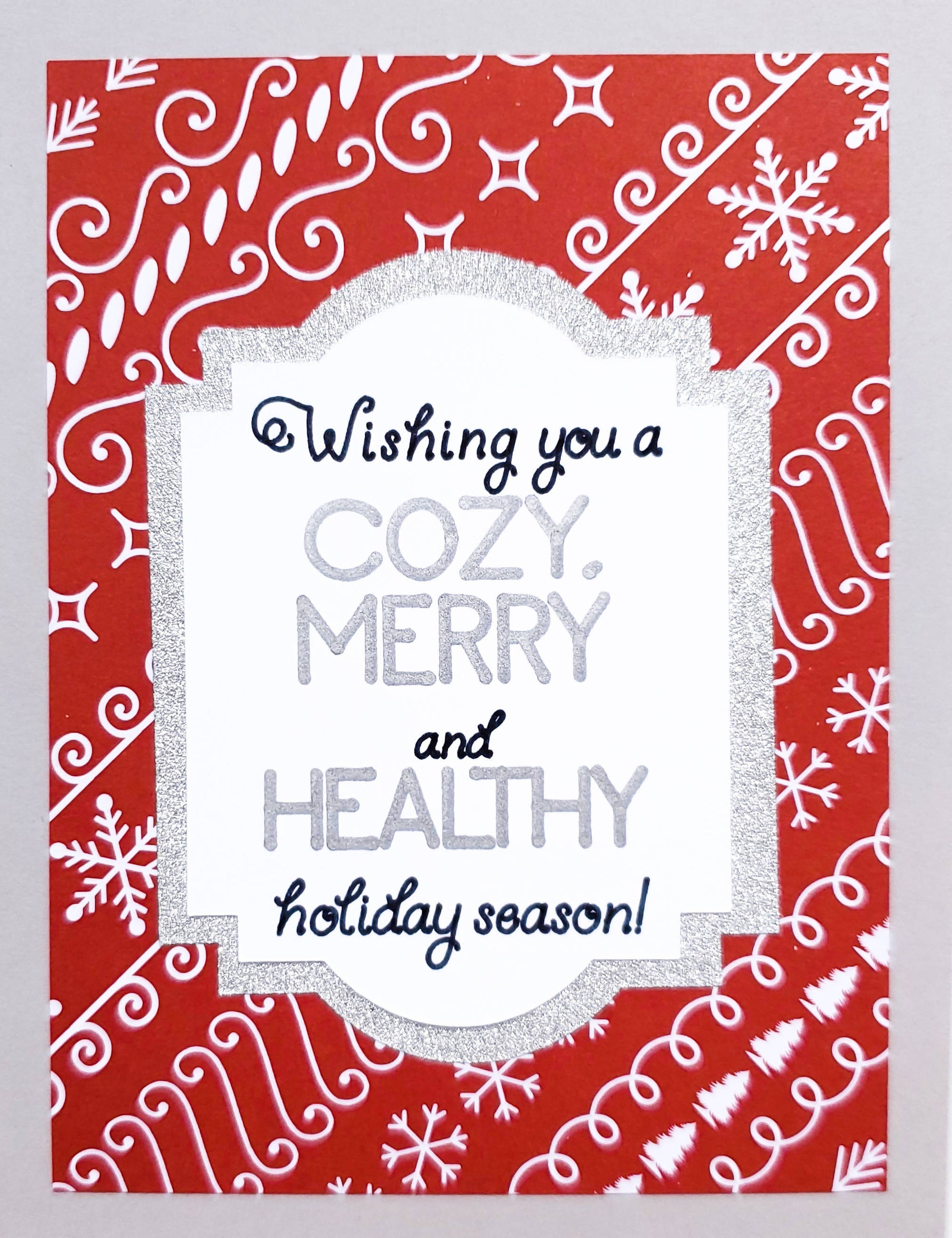 Merry and Healthy Card (Red and Silver)