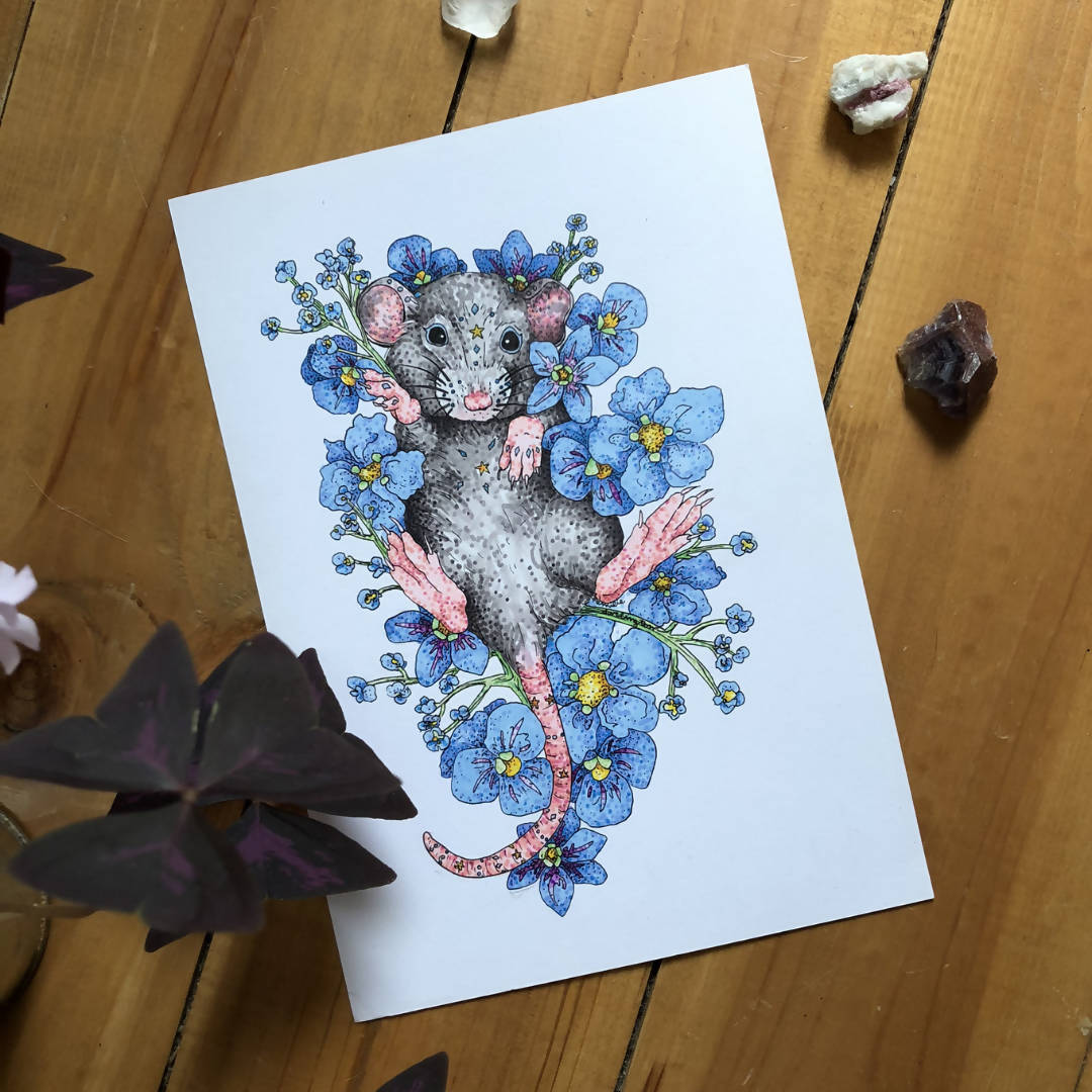 Bed Of Flowers - Mouse & Flowers Art Print